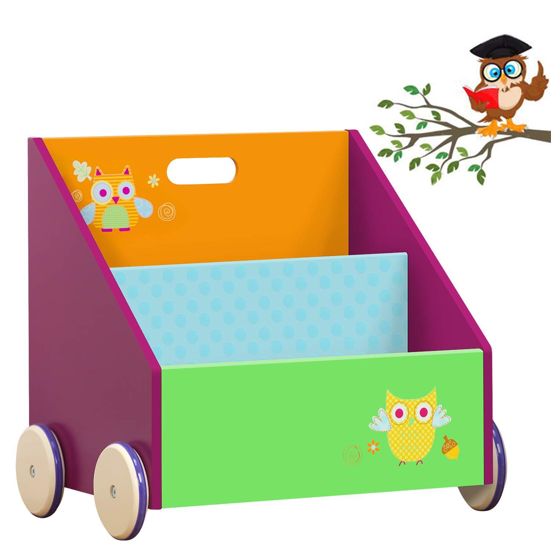 labebe Kid Bookshelf with Wheels, Green Owl Wood Bookshelf for Kid 1 Year Up, Baby Bookshelf/Child Bookshelf/Toddler Bookshelf/Toddler Book Rack/Display Shelf/Book Display/Kid Corner Bookshelf Decor