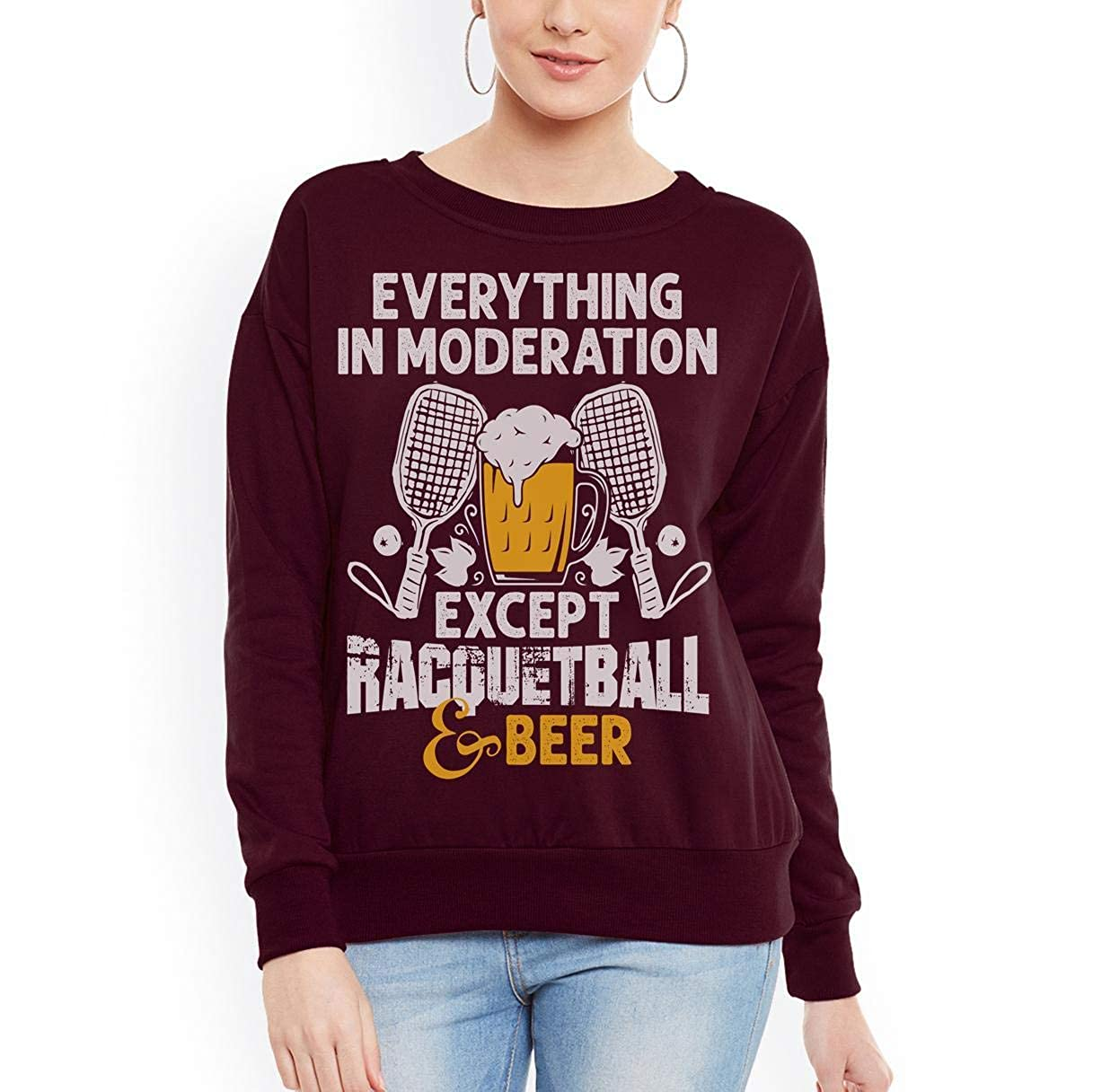 Racquetball Funny Racquetball Beer Moderation Women Sweatshirt tee