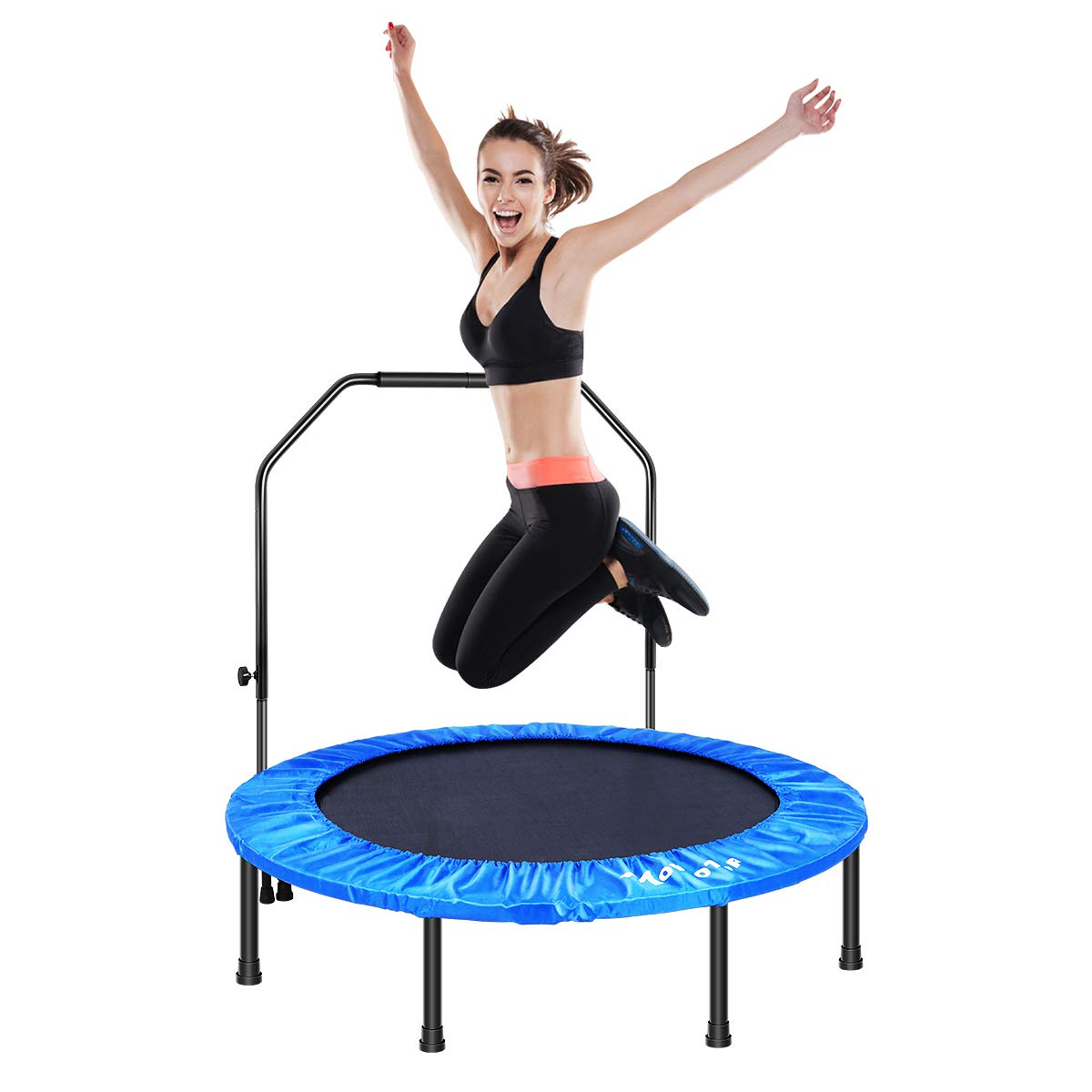 MOVTOTOP 48'' Folding Indoor Trampoline, Portable Trampoline Rebounder with Adjustable Handrail, Kids Adults Trampoline for Fitness Cardio Workout Training (Max Limit 286lbs)