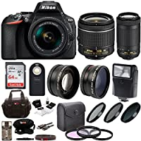Nikon D5600 DSLR Camera with 18-55 and 70-300mm Lenses + 64GB Card, Filters + Kit