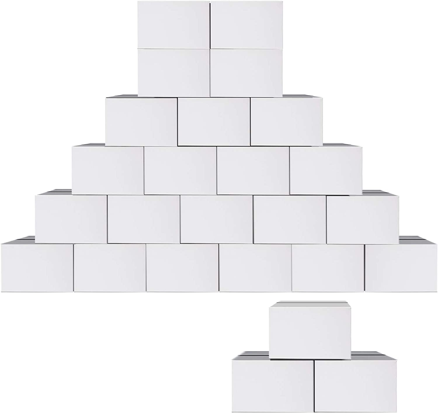 25 Pack 11x6x6 Cardboard Boxes, White Corrugated Shipping Box for Mailing