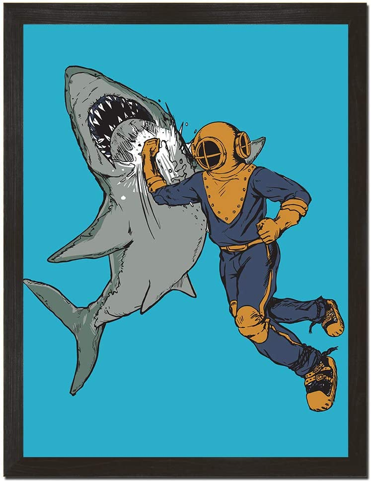 Sharp Shirter Funny Shark Poster Retro Decor Beach Theme Fish Art Print Underwater Wall Hanging Blue 8 x 10 18 x 24