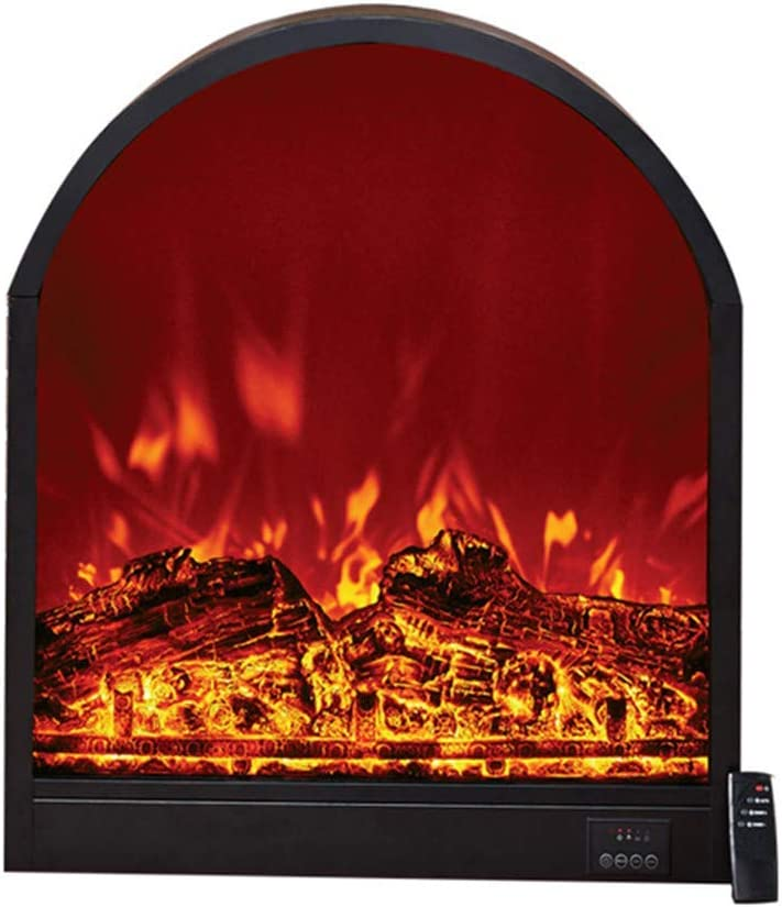 Electric Fireplace Wall Insert, ARC Shaped Electric Fireplace Heater with W/Logs Flames Ornamental, Freestanding & Recessed Electric Stove Heater, W/Smart Remote Control, 1800W / B