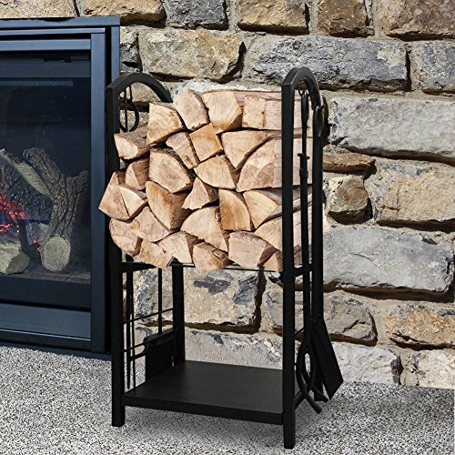 Fireplace Log Rack with 4 Tools Indoor Outdoor Fireside