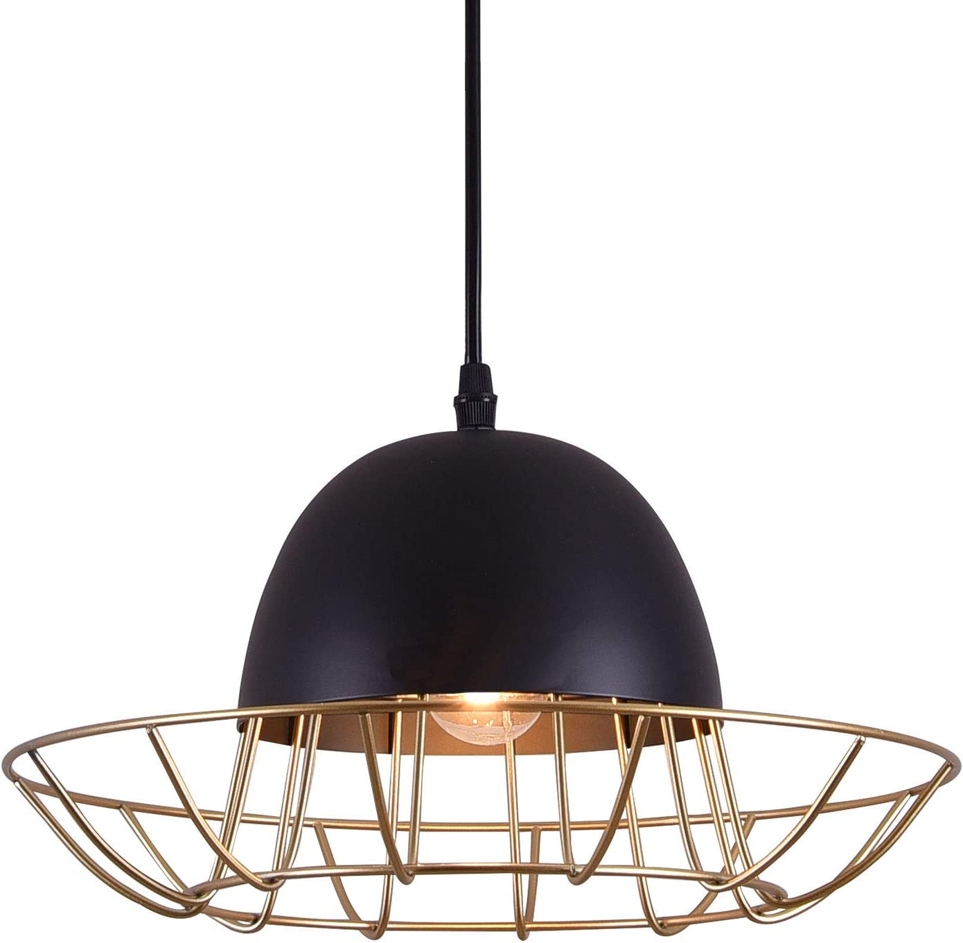 Pendant Lighting, Briever 1 Light Hanging Pendant Lamp,Hat Shape Metal Ceiling Light,Perfect Light for Dining Room, Kitchen, Living Room, Bedroom, Restaurant, Bar