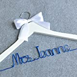 Personalized Wedding Hanger, Bridesmaid Gifts, Name hanger, Brides Hanger Bride Gift With Bow With Colorful Wire Hanger, Custom Bridal Dress Hanger