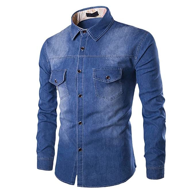 53adc2e2b69 Men s Denim Shirts Slim Fit Long Sleeve Dress Shirt Autumn Casual Top Shirts  (S