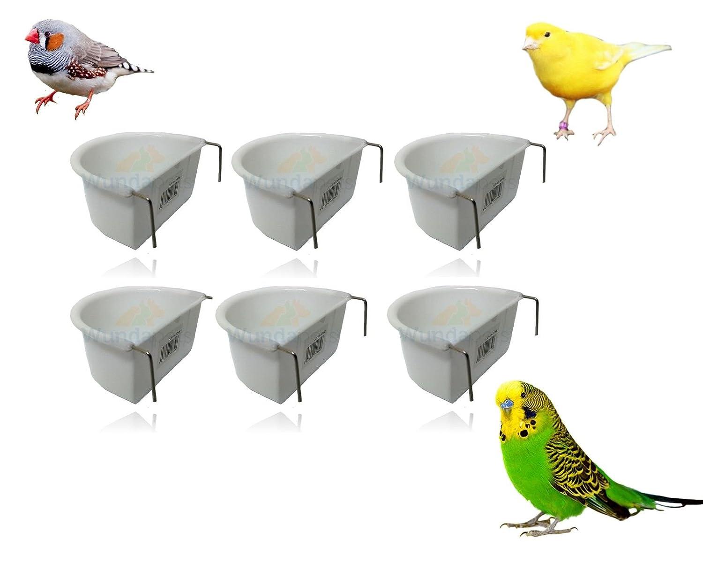 Juego de 6 copas de plástico para pájaros de 6, 5 cm con forma de D para colgar en el alimento WUNDAPETS