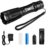 LE 1000lm LED Tactical Flashlight Rechargeable XM-L2 T6, Portable, Zoomable, 5 Light Modes, 10W, 18650 Battery and Charger Included, Water Resistant Camping Torch, LED Handheld Flashlight