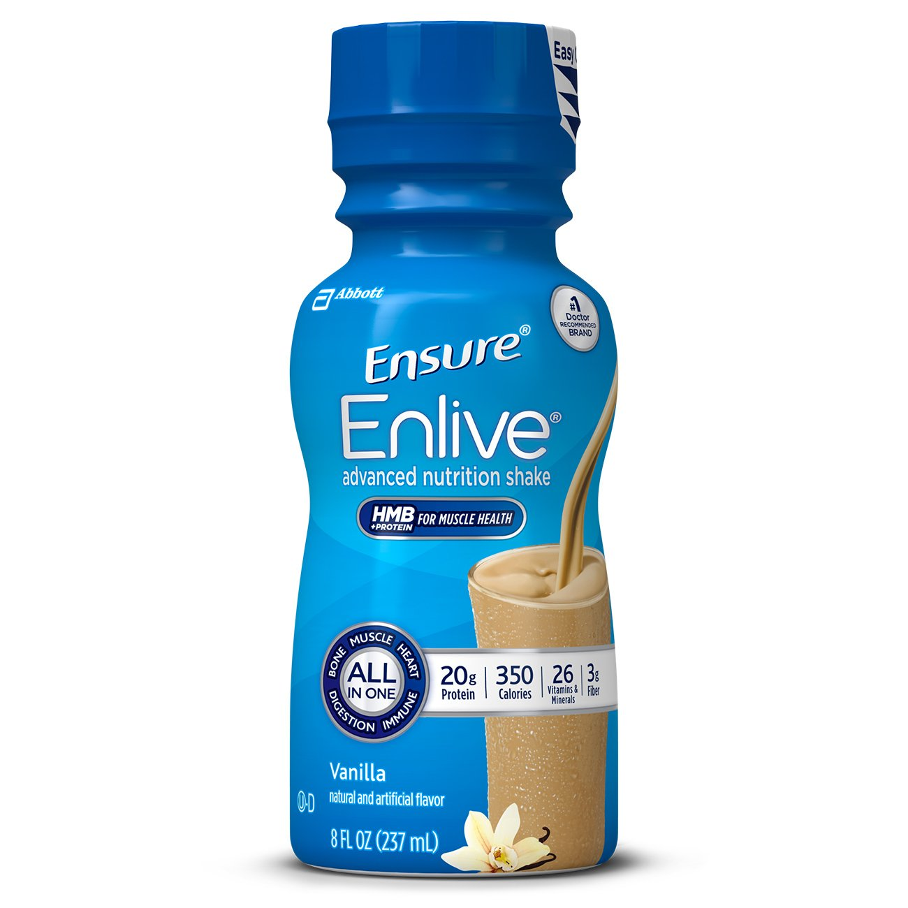 Ensure Enlive Advanced Nutrition Shake with 20 grams of protein, Meal Replacement Shakes, Vanilla, 8 fl oz, 16 count