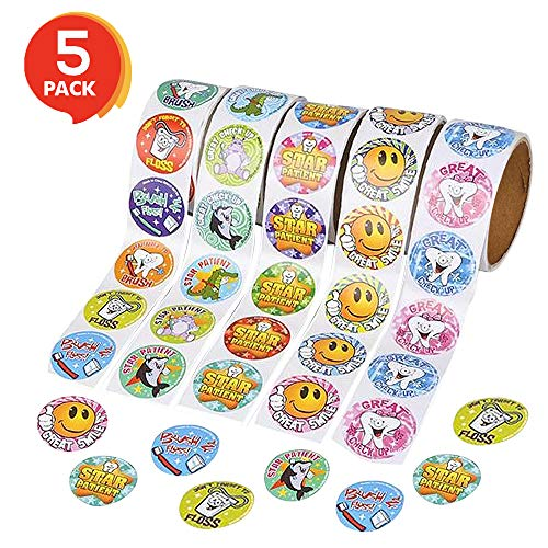 ArtCreativity Dental Sticker Rolls Assortment - Set Includes 500 Dental Themed Stickers - Dental Reward, Goodie Bag Fillers, Party Favors - Fun Craft Tool for Children Ages 3+