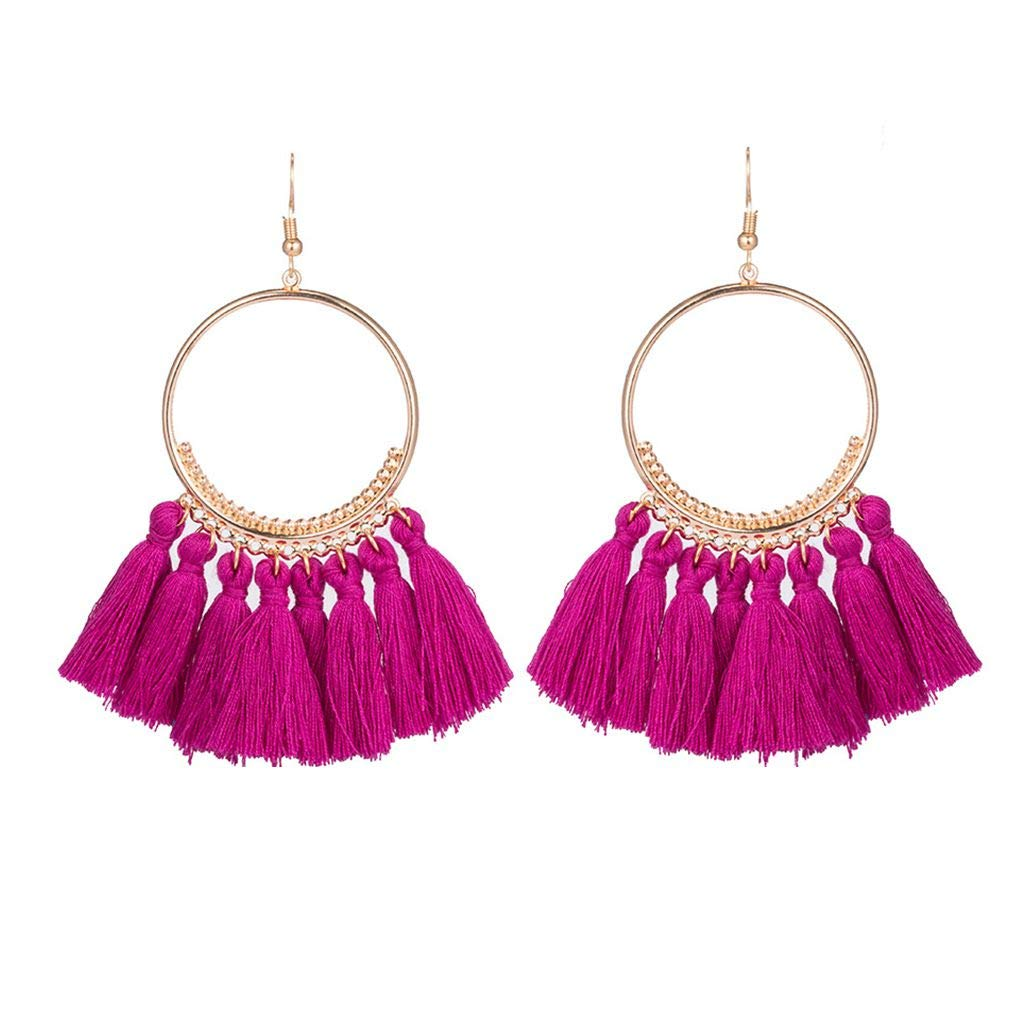 Beaums 1 Pair Golden Round Pendant Tassel Earrings Bohemian Fringed Fabric Earrings for Women Jewelry Gift