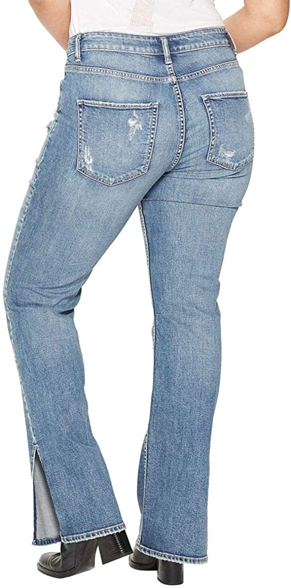 Womens Plus Size Avery Curvy Fit High Rise Slim Bootcut Jeans Silver Jeans Co