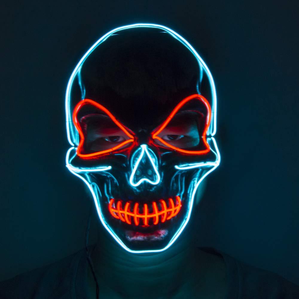 Amazon.com: Fadory - Máscara de calavera con luz LED para ...