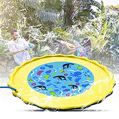 Leoneva 100x100cm Inflatable Cushion Spray Water Game Pad Outdoor Lawn Children Play Water Mat Inflatable Ride-ons: Home & Kitchen