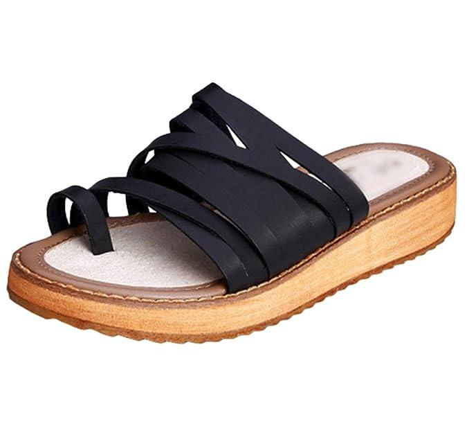 Yiiquan Damen Sommer Sandalen Schuhe Peep-Toe Mode Dicken Roman Hausschuhe Outdoor