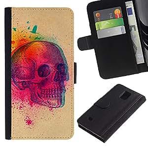 Stuss Case / Funda Carcasa PU de Cuero - Explosión colorida del cráneo de la mariposa Cráneo - Samsung Galaxy Note 4 IV
