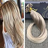 "Ugeat 18"" U Tip Hair Extensions Human Hair #18 Ash Blonde with #613 Bleach Blonde Pre Bonded Keratin Remy Hair Extensions 1g/Strand 50g/Pack"