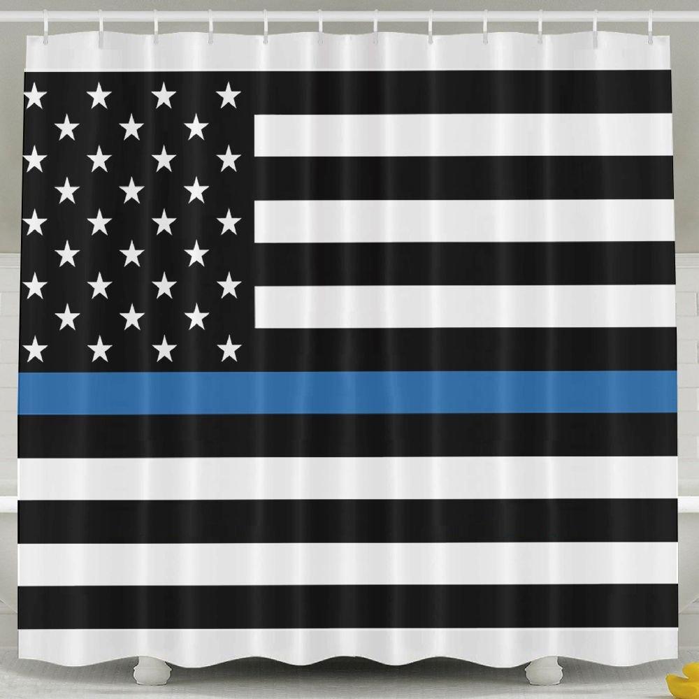 BINGO FLAG Funny Fabric Shower Curtain Thin Blue Line American Flag Waterproof Bathroom Decor With Hooks 60 X 72 Inch