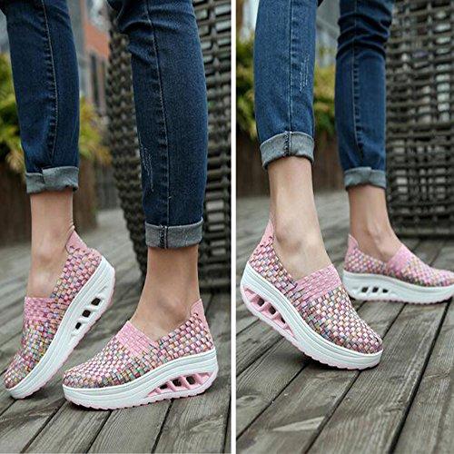 Sommer Kvinner Vevd Sko Plattform Sandaler Walking Sko Rosa