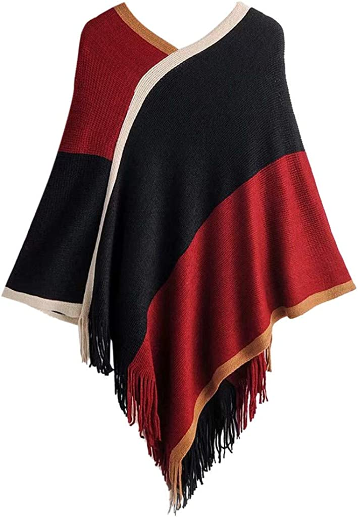 HebeTop Women's Winter Vintage Poncho Capes Tassel Blanket Shawl Wrap Cardigan Coat