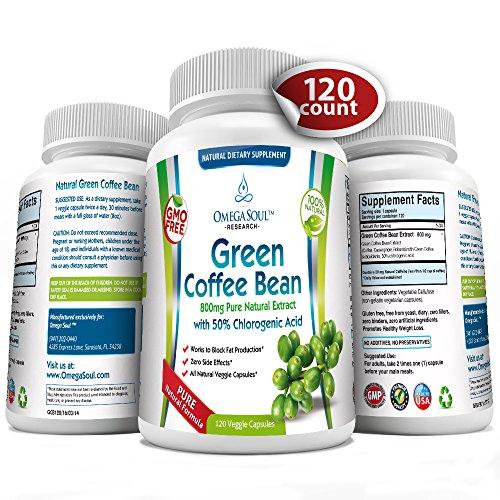 Чистый зеленый Coffee Bean Extract с 50% CGA - 800 мг / капсула - 1600 мг на порцию (всего 2 капсулы / день) - 120 капсул