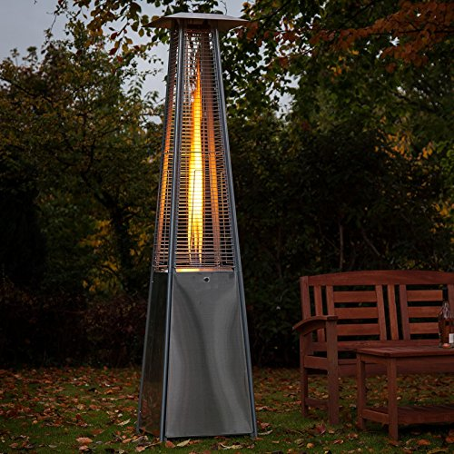 Limitless Home Floor Standing Outdoor Patio Heater Pyramid Quartz Glass Tube Real Flame 13KW Gas