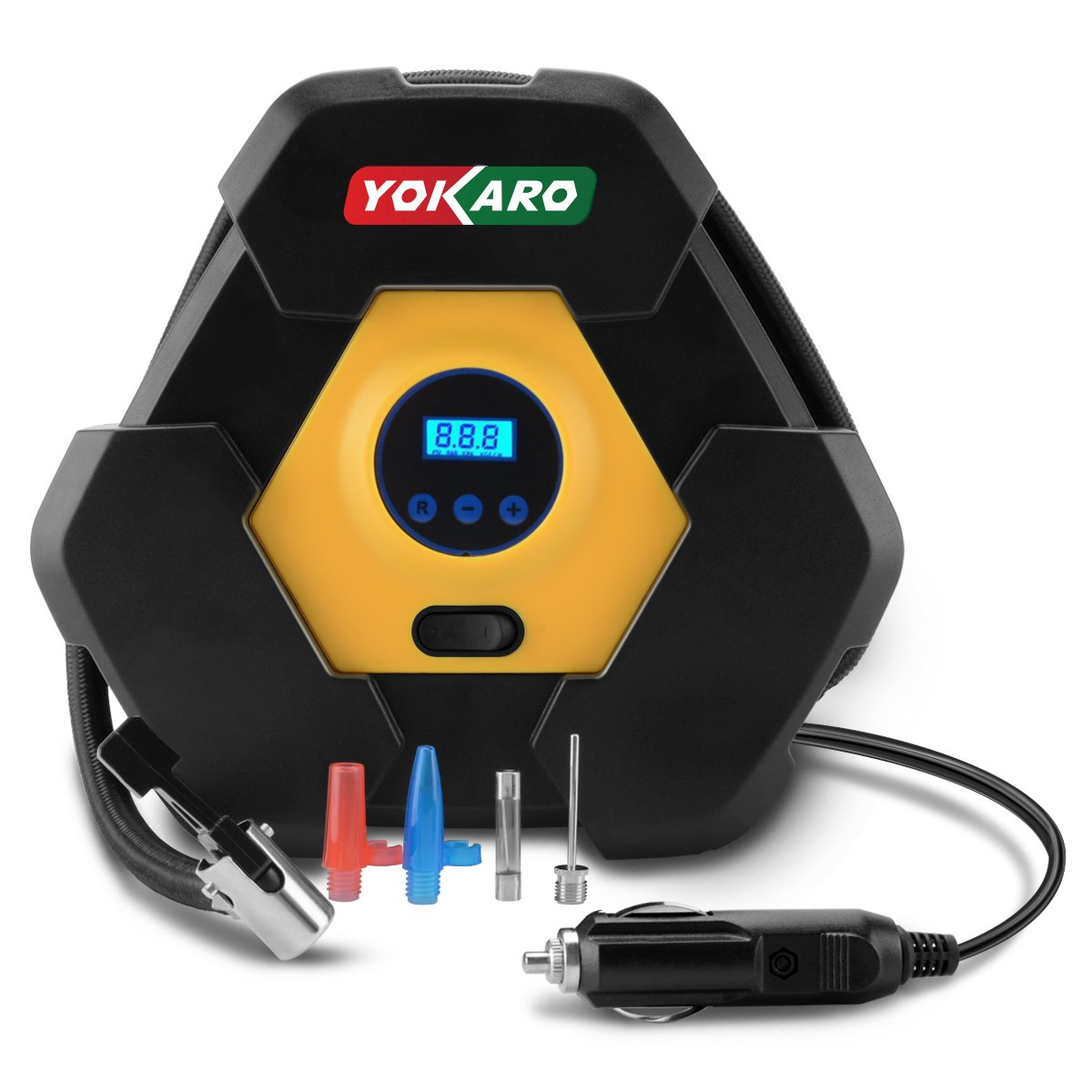 YOKARO Portable Digital Tire Inflator 12V 150PSI Auto Shut off Air Compressor Pump with 3 High-air Flow Nozzles & Adapters