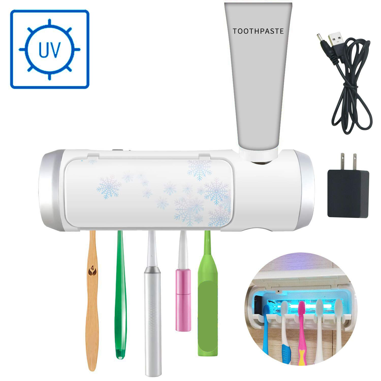 AQUATREND UV Toothbrush & Toothpaste Holder Sanitizer with Ultraviolet Light Sterilization Function, Drying & Build-in Fan, 5 Slots for Family Kids, Shower Bathroom, USB Charging Equipped with Adapter by Aquatrend