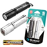 OLIGHT オーライト i3E EOS 小型軽量 ミニフラッシュライト 銀色 120ルーメン 1個 ブラック 明るさMAX 90ルーメン 1個 ,セット 防水 IPX8 単4アルカリ電池×1本使用 キーライト (ブラックとシルバー、セット)