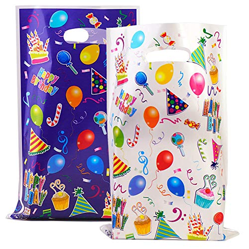 40 Pack Party Favor Bags Assorted Colors Plastic Goodie Bags for Kids Birthday (Balloon)