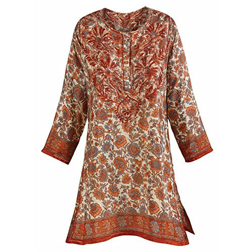 Womens-Tunic-Top-Autumn-Sunset-Silky-34-Sleeve-Kurta-Blouse