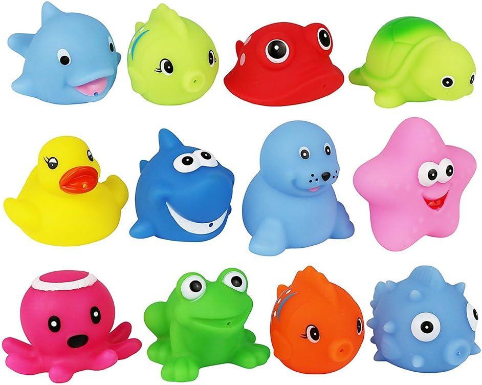 houzhi Liang Juego DE 10 Diferentes Animales bebé Juguetes de Baño de Goma Flotante apretar Sonido Lavado Baño Swim Buceo Juguetes Animales