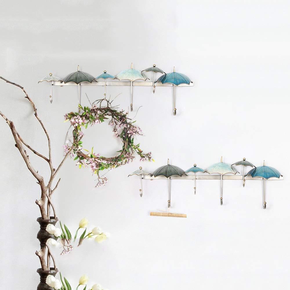洗濯 ハンガー 物干し 多機能ハンガー 傘の装飾シンプルなフック壁掛け寝室ハンガーポーチ吊りフック壁掛け ズボンハンガー スカートハンガー クリップ ハンガ (色 : 青) B07S2Y9DYS 青