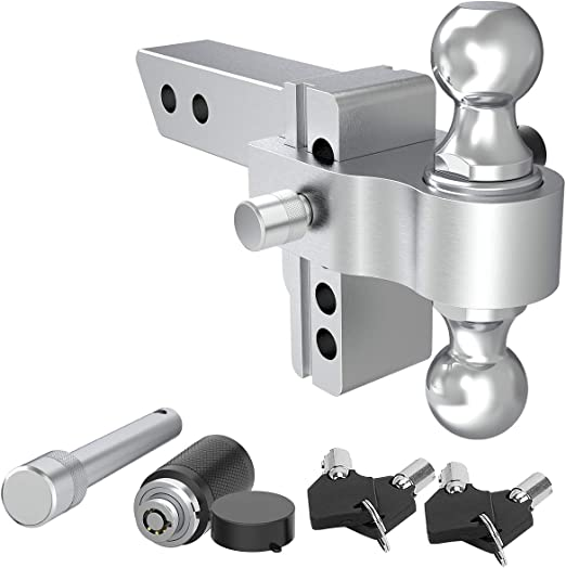 YITAMOTOR 10 Drop Adjustable Aluminum Trailer Hitch with 2 Shank//Shaft /& Ball Mount 2 /& 2-5//16 Dual Tow Balls w//Double Keyed Locking Pins