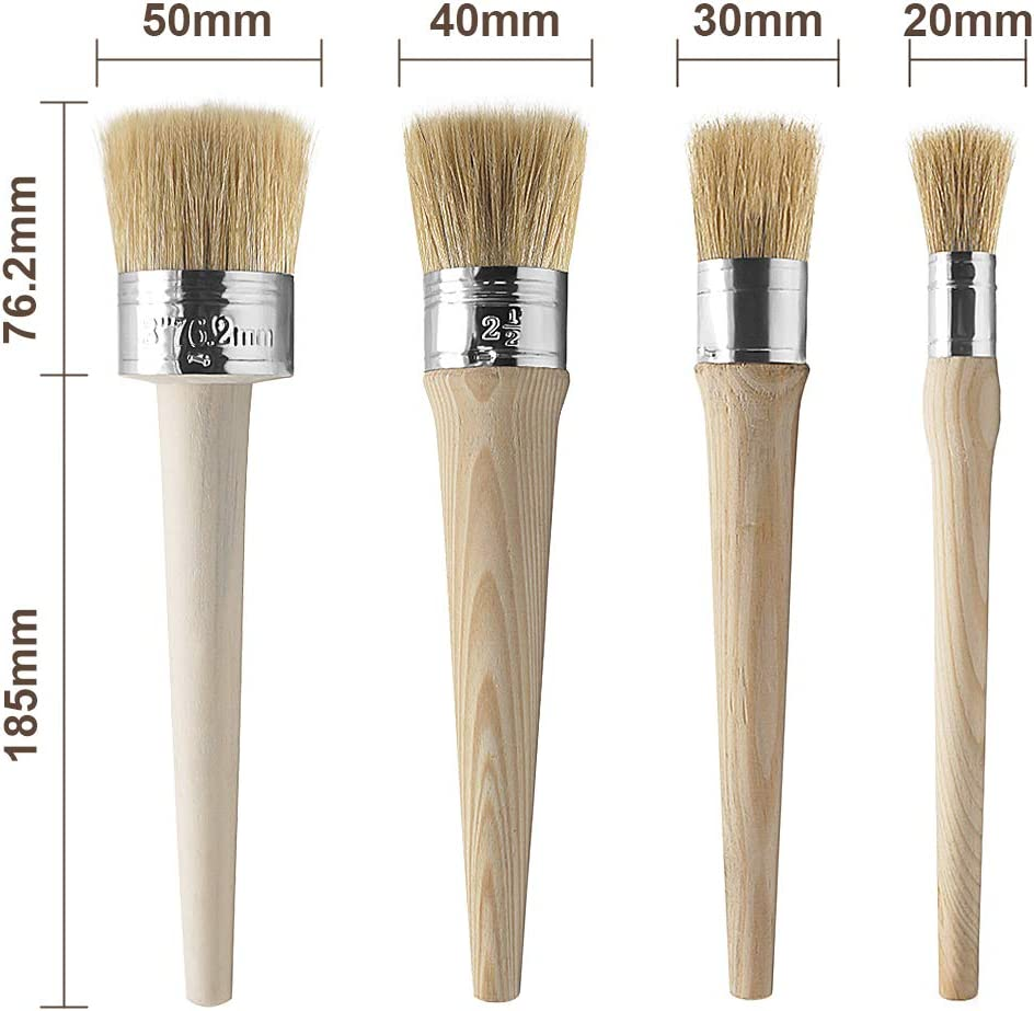 20 mm, 30 mm, 40 mm, 50 mm Lot de 4 pinceaux ronds pour meubles vitrage de poterie Lot de 4 pinceaux de cire /à la craie Facile /à nettoyer cirage d/écoration dint/érieur