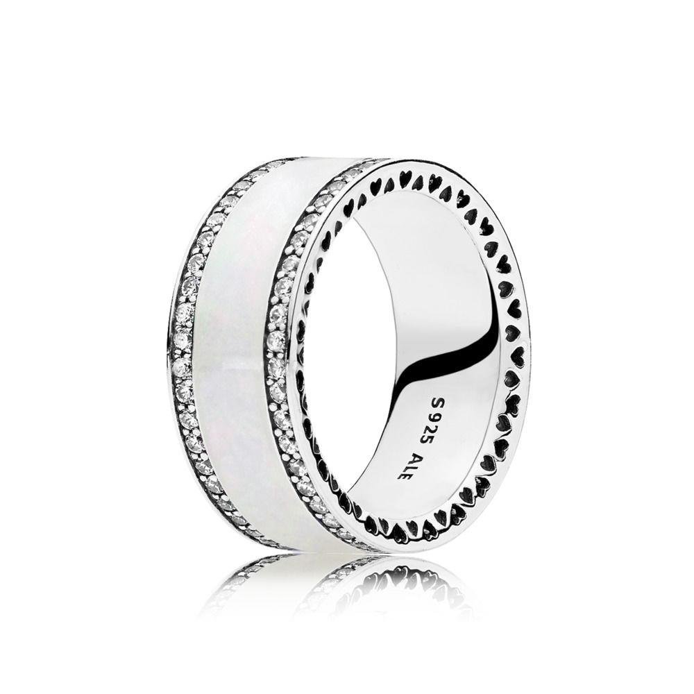 Hearts of PANDORA Ring, Silver Enamel & Clear CZ 191024EN23-52 EU, 6 US