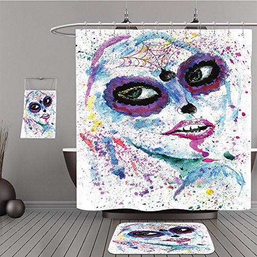 Uhoo Bathroom Suits & Shower Curtains Floor Mats And Bath Towels 307875743 Halloween girl with sugar skull makeup, watercolor painting. For Bathroom