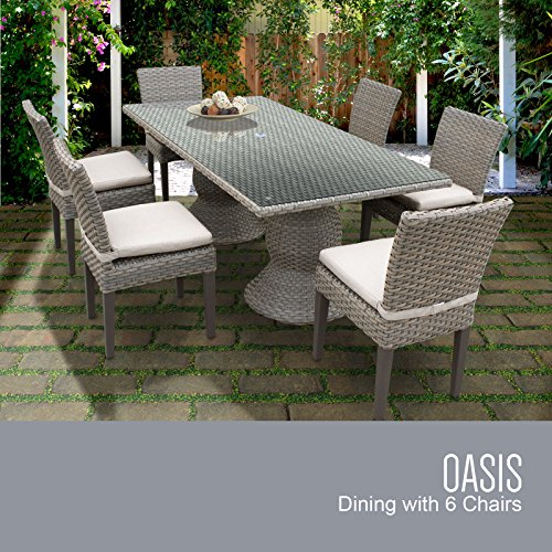 Garden Oasis Furniture (TK Classics Oasis Rectangular Outdoor Patio Dining Table with 6 Armless Chairs, Beige)