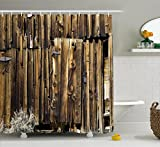 Rustic Shower Curtain by Ambesonne, Oak Barn Siding Door Cracked Rusted Hinges Dated Timber Mansion Farmland Nobody Design, Fabric Bathroom Decor Set with Hooks, 70 Inches, Brown