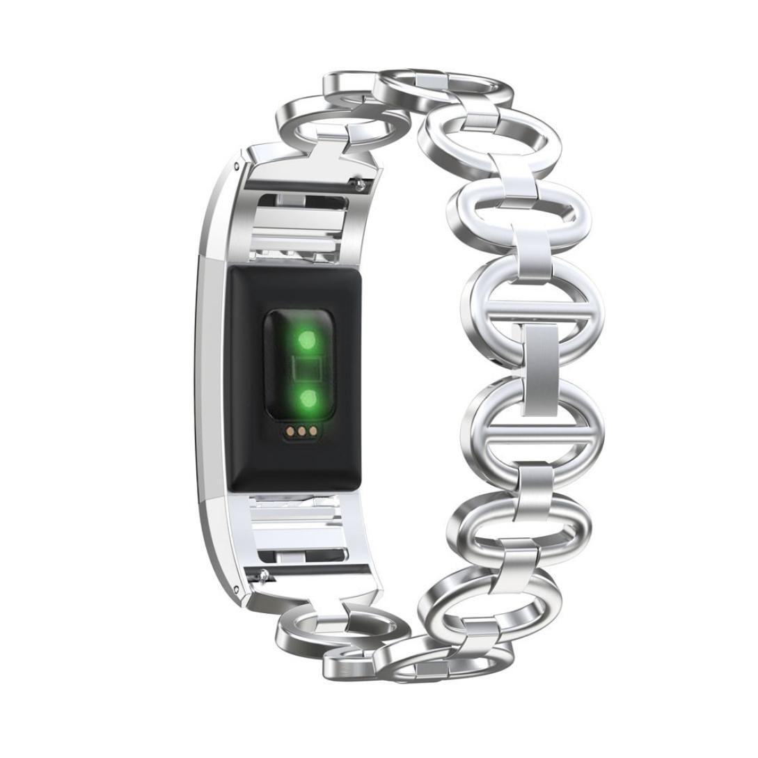 Lilaiステンレススチールブレスレットスマートウォッチバンドストラップfor Fitbit Charge 2  シルバー B078W6XLVF