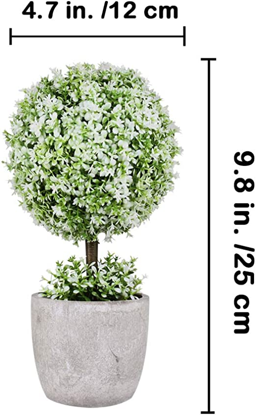 5 Colors Small Artificial Topiary Ball Plants in Pots Indoor Leave Flowers H9J6