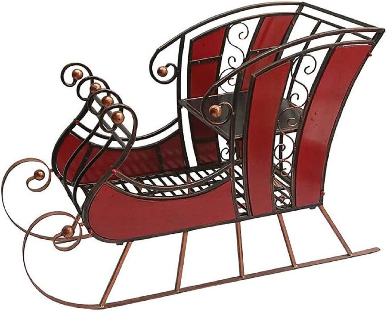 Sunset Vista 38 inches Red Wood and Metal Sleigh Christmas Decor