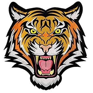 Tiger Patch Large Embroidered Iron-On Applique Roaring Bengal Striped Souvenir