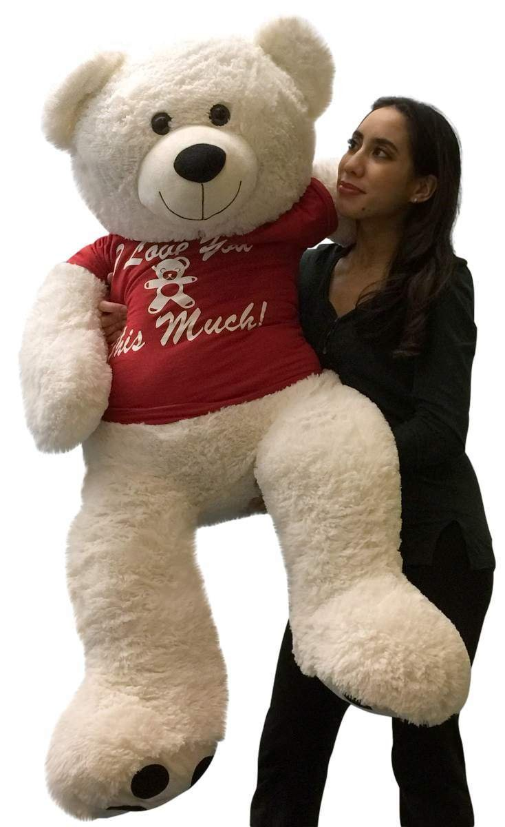 amazoncom giant valentine teddy bear 52 inch soft white wears removable tshirt i love you this much toys games