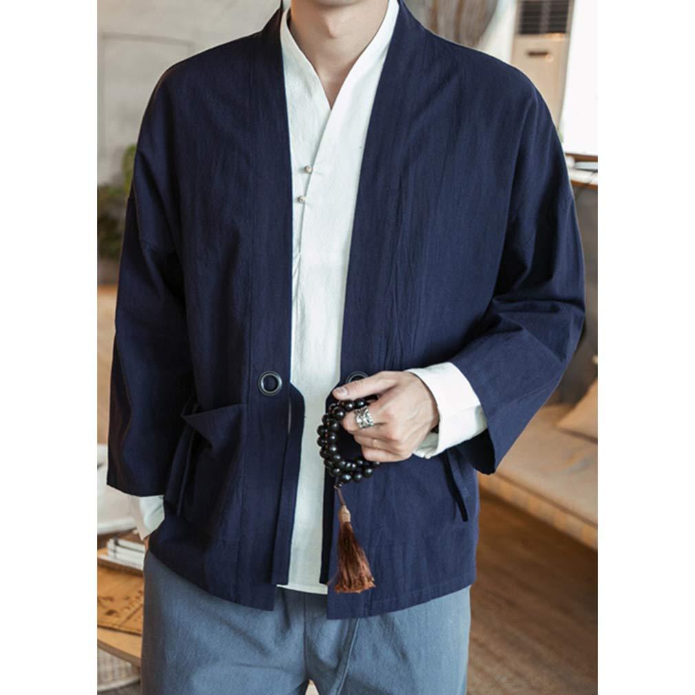 Yying Homme Kimono Casual Lin et Coton Mélange Manteau Court One Button Manches 3/4 Poche Manteau Bleu Foncé