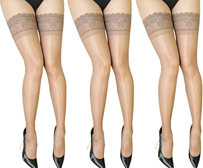 2 Pairs Ladies Nude Super Shine Lace Top Stockings One Size 15 Denier Hosiery