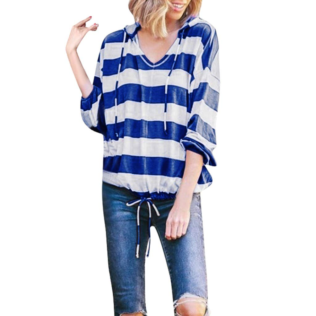 TIFENNY Loose Long Sleeve Hooded for Women Casual Stripe Print Thin Hoodie Pullover Drawstring Hem Tops Blouse Shirts Blue by TIFENNY
