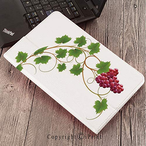 Case for Samsung Galaxy Tab S3 9.7 T820 T825 Slim Folding Stand Cover PU Case, Grapes Home Decor,Curved Ivy Branch Deciduous Woody Wines Seed Clusters Cabernet Kitchen,Green Purple