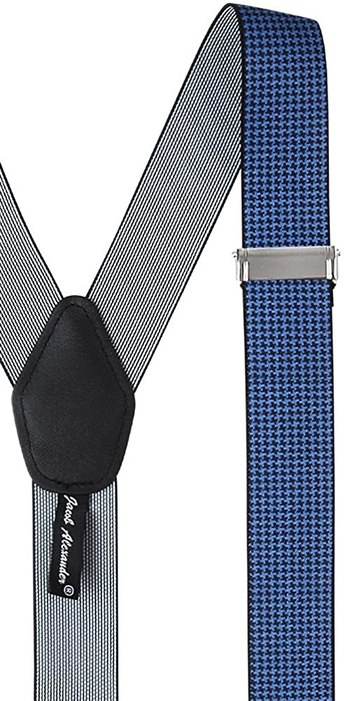 Jacob Alexander Mens Houndstooth Y-Back Suspenders Braces Convertible Leather Ends Clips SUPHST6119